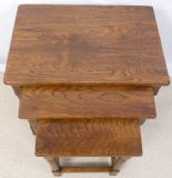 SOLD - Nest of Three Jacobean Style Oak Coffee Tables